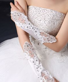 WHITE / IVORY LACE WEDDING BRIDES SATIN RHINESTONE CRYSTAL LONG GLOVES