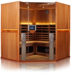 Sanctuary C is a infrared sauna available in cedar or basswood. This corner sauna is equipped with full spectrum infrared technology & much more! Clearlight Sauna, Sauna Room, Sauna For Sale, Indoor Sauna, Portable Sauna, Traditional Saunas, Basement Gym, Infrared Sauna, Steam Room