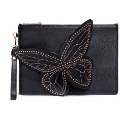 Sophia Webster 'Flossy' studded 3D butterfly leather clutch ($647) ❤ liked on Polyvore featuring bags, handbags, clutches, black, dome purse, sophia webster, real leather handbags, genuine leather purse and studded handbags