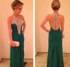 Dress: prom prom es long gown emerald