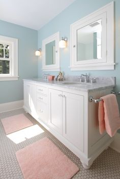 LOVE THIS BATHROOM!  Tile floor, white cabinets, lights, mirrors, gray counters, wall color!!!