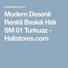 Modern Desenli Renkli Baskılı Halı SM 01 Turkuaz - Halistores.com