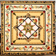 My Joyful Journey: More Quilts Going to Houston! Barbara B. This quilt is just beautiful - medallion, poppies, colors. Sampler Quilts, Star Quilts, Quilt Blocks, Hand Applique, Applique Quilts, Hand Quilting, Machine Quilting, The Quilt Show, Quilt Border