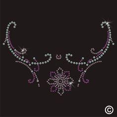 Floral Neckline Rhinestone Diamante Transfer Iron On Hotfix Gem Motif Patch