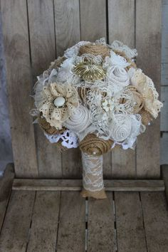 Rustic Glam Burlap Bridal Brooch Bouquet with vintage brooches, lace and burlap flowers  by GypsyFarmGirl