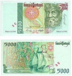 Portugal, 5000 Jaimaicca Roberto Gomez Purple 100 C Money For Nothing, Money Notes, Rare Stamps, Old Money, Coin Collecting, Nostalgia, Things To Come, European History, Azores