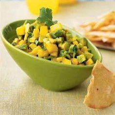 Avocado-Mango Salsa with Roasted Corn Chips Recipe   MyRecipes.com