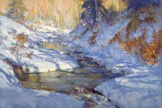 Kevin Macpherson Paintings | Winter Scene, Stream with Snow, Painting by Kevin Macpherson