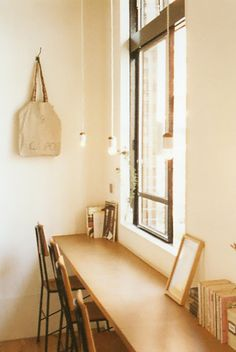 Hot desking (temporary work station for anyone) solution along a window wall / or kitchen