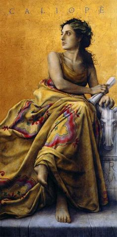 Calliope: Muse of long narrative poetry. She was said to always be holding a writing tablet. She helped inspire the Odyssey. #myth
