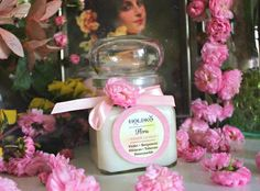 FLORA soy wax candle contains Violet, Honeysuckle, Hibiscus, Tuberose and Bergamott, topped with Rose and Lilac buds. Candle Wax, Soy Wax Candles, Colorful Flowers, Beautiful Flowers, Glass Containers, Burning Candle, Candle Making, Hibiscus, Perfume Bottles