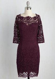 As others gaze upon your crocheted lace dress, they're not just admiring it - they're making mental notes of how the illusion neckline, cropped sleeves, and sophisticated cut of this wine-hued frock highlight what makes your style so special!