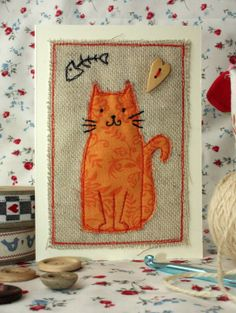 Ginger Kitty Cat Embroidered Applique Greetings by TheCraftyTash, £8.00