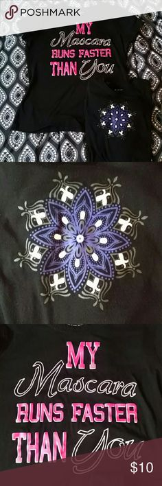 "Tek Gear T-shirt BUNDLE ~ both in good condition ~ snowflake design shirt is a small, ""mascara"" shirt is a medium but very fitted. tek gear Tops Tees - Short Sleeve"