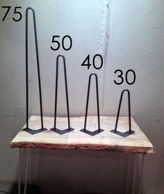 Pieds de table en épingle 30 cm Brut - Hairpin legs fait main - piétement de table : Meubles et rangements par fabrik-pied