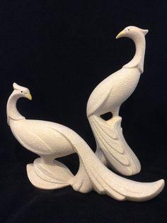 "Lovely PAIR of Vintage White Hollywood Regency 12"" Peacocks"