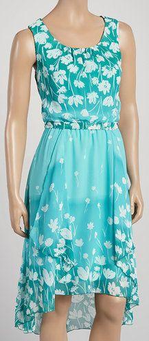 Aqua Floral Sleeveless Hi-Low Dress