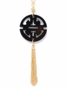 Jinger Tassel Necklace, Black