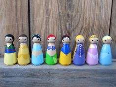 Princess Peg People  Set of 8 Wooden Hand Painted  by PegBuddies, $72.00