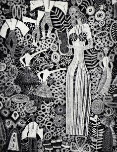 Magnifiques broderies de l'artiste russe Helena Holeczyova dans les années 60/70