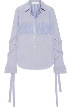 Tibi's striped shirt is a modern twist on menswear styles. Made from crisp cotton-poplin, this piece has a contrast bustier-inspired panel at the front and elongated ties that wrap the sleeves. Wear yours with jeans or cropped pants.