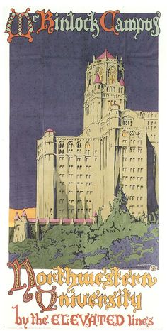 Northwestern University by the Elevated Lines - Oscar Rabe Hanson, Vintage Poster 1923
