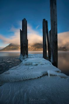 sub zero sunrise - Temperatures of around -14 created some interesting ice formations at Canoe Wharf.  My Facebook:  https://www.facebook.com/pages/Viktoria-Haack-Photography/