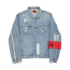 Jacket 424 ❤ liked on Polyvore featuring outerwear, jackets, tops, coats & jackets, blue zipper jacket, long blue jacket, zip jacket, collar jacket and distressed denim jacket