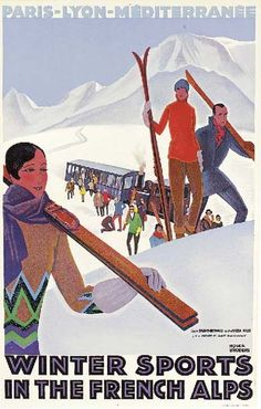 PLM - Winter sports in the French Alps - 1930's - (Roger Broders)