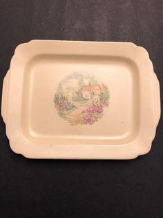 Homer Laughlin Serving Platter - Cottage Scene with Rose Bushes Rose Bush, Homer Laughlin, Serving Plates, Vintage China, Platter, 1930s, Scene, Cottage, Tableware