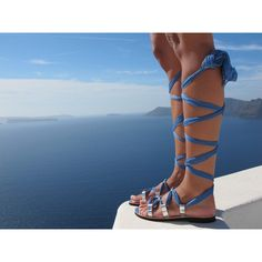 Luxurious Lace Up Sandals Handmade of Leather and Silk Make Your... ($119) ❤ liked on Polyvore featuring shoes, sandals, gladiator & strappy sandals, grey, women's shoes, strap sandals, gray gladiator sandals, embellished sandals, gladiator sandals and lace up gladiator sandals