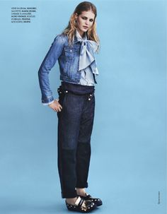 Total Denim: Erin Heatherton By Bjarne Jonasson For Elle France 25th October 2013
