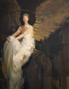 "Saatchi Art Artist Fanny Nushka; Painting, ""Revisiting Abbott Thayer's angel"" #art"