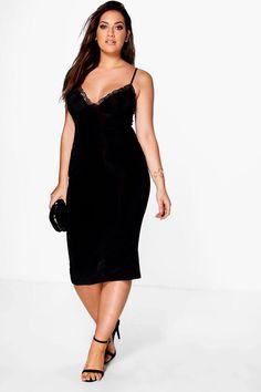Plus Libby Lace Detail Plunge Slinky Midi Dress