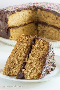 Vegan Vanilla Wacky Cake is made with chocolate icing and vanilla protein powder to make this cake beautiful, easy, and delicious! #vegan