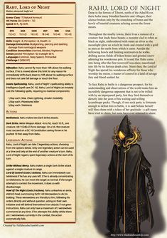 Rahu, Lord of Night Homebrew for D&D 5e