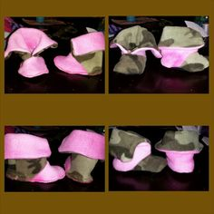 REVERSIBLE! Camo and Pink fuzzy booties size 3 mo $25  nTICing dEsigns