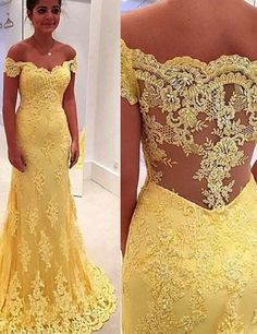 Elegant Yellow Cap Sleeves Lace Mermaid Prom /Evening Dress
