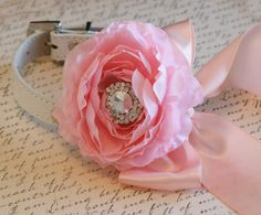 Pink and Blush Floral Dog Collar,Pet Wedding Accessory, Pet Wedding Accessory, 2014 Wedding Accessory, flower and Rhinestone on Etsy, $45.50