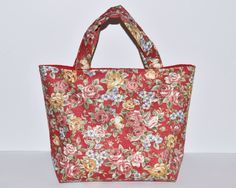 Women's Handbag, Tote Bag, Handmade Bag, Contains Pocket & Magnetic Button Closure, Red Floral Fabric, Evening Bag, Day Bag, Gift for Her by RachelMadeBoutique on Etsy https://www.etsy.com/listing/268134915/womens-handbag-tote-bag-handmade-bag