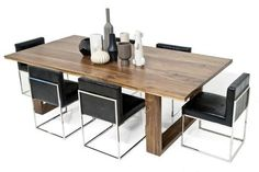 Solid Brown Walnut Slab Dining Table
