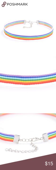 """🆕 Pride Collection - Simple Rainbow Choker 🌈 This ribbon choker is approx 12"""" long with a 2.5"""" extender and features a simple rainbow design.  $1 from every purchase from the Pride Collection (more items on the way!) will be donated to The Trevor Project, a national 24-hour, toll free confidential suicide hotline for LGBTQ youth. jmeyersray Jewelry Necklaces"""
