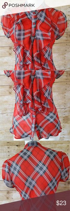 Poetry Clothing Sheer Shirt Poetry Clothing Sheer Red Plaid Button Down Shirt Ruffles Size M Poetry Tops Button Down Shirts