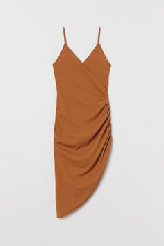 Draped Wrap-front Dress - Dark camel - Ladies | H&M US Wrap Dress Short, Wrap Front Dress, Calf Length Dress, Fashion Company, World Of Fashion, Fitness Fashion, What To Wear, Personal Style, Summer Dresses