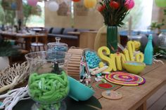 Hawaiian and surf candy bar for a luxury kids birthday in St Tropez Kids Events, Bar Mitzvah, Birthday Candles, Hawaiian, Surfing, Candy, Christmas, Decor, Xmas