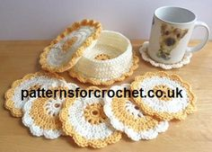 Coasters & Coaster Basket FREE pattern from http://www.patternsforcrochet.co.uk/coasters-basket-usa.html will brighten up dinning area's #freecrochetpatterns #patternsforcrochet