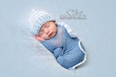 Elf Photo Prop Hat - Striped Stocking Hat - Light Blue and White - Boy Elf Hat - Photo Prop Hat - Stocking cap - Newborn Sleeping Hat