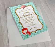 Invitación de cumpleaños de Ariel Ariel por HomiedayPrintables