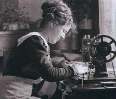 Vintage photo woman sewing