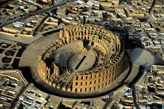 Amphitheater at El-Djem, Governorate of Mahdia, Tunisia Ancient Architecture, Ancient Romans, North Africa, Aerial Photography, Heritage Site, Aerial View, Ancient History, Places To Go, Places